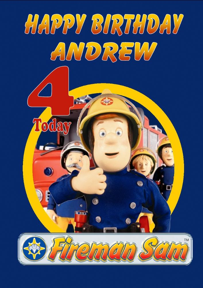Personalised Fireman Sam Birthday Card Design 1